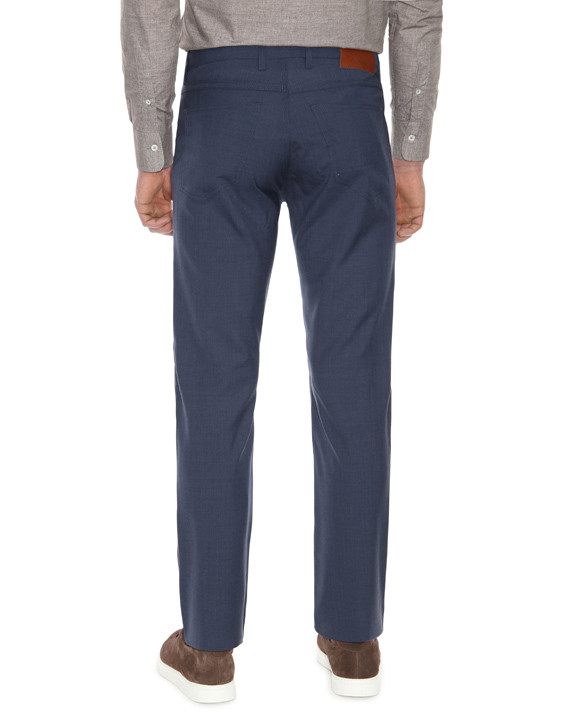Canali Dark blue 5-pocket pants in Impeccabile wool-2_2