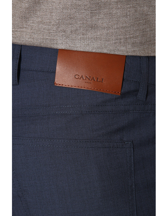 Canali Dark blue 5-pocket pants in Impeccabile wool-2_3