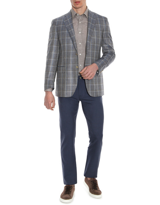 Canali Dark blue 5-pocket pants in Impeccabile wool-2_5