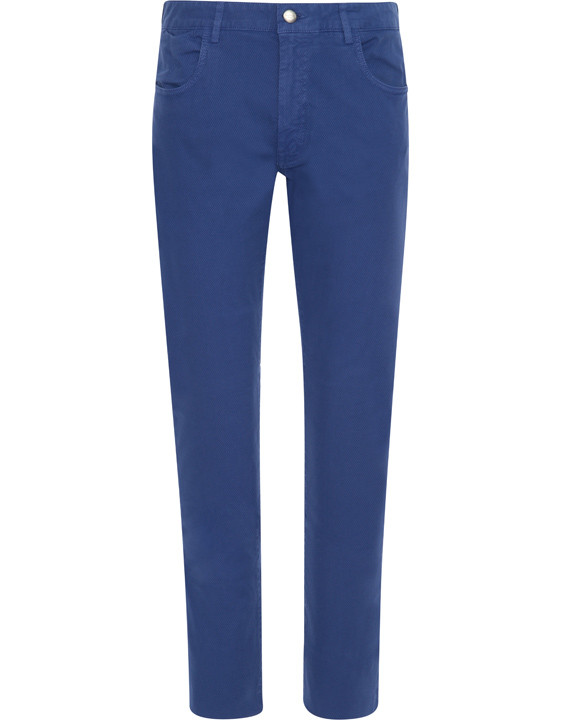 Canali Blue 5-pocket pants in textured stretch-cotton-2_0