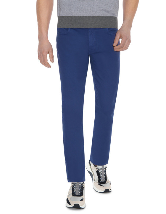 Canali Blue 5-pocket pants in textured stretch-cotton-2_1