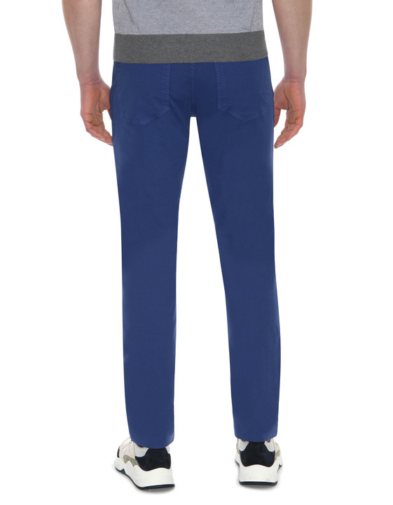 Canali Blue 5-pocket pants in textured stretch-cotton-2_2