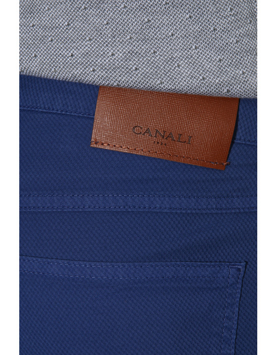 Canali Blue 5-pocket pants in textured stretch-cotton-2_3