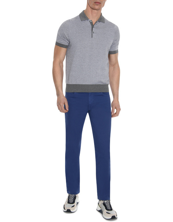 Canali Blue 5-pocket pants in textured stretch-cotton-2_5