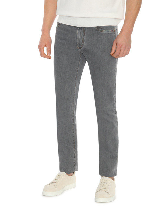 Canali Gray 5-pocket jeans in stretch cotton-2_1
