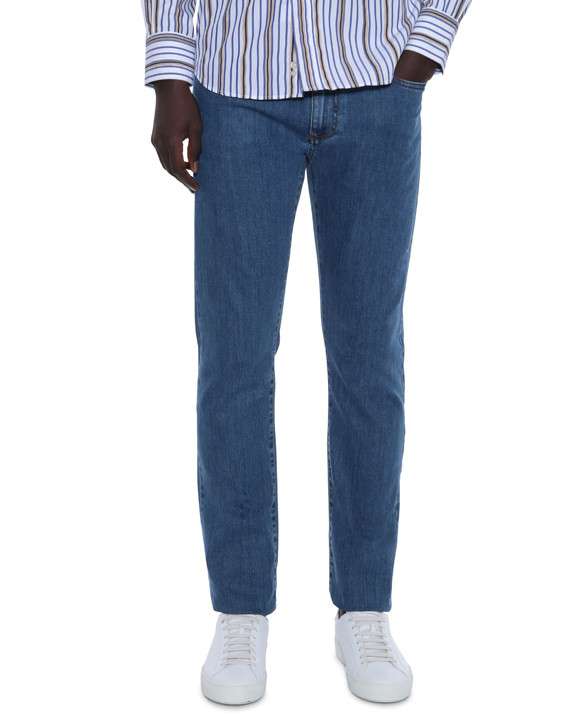 Canali Medium wash 5-pocket jeans in stretch cotton-2_1