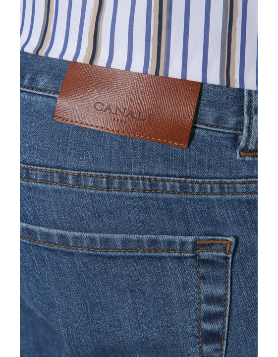 Canali Medium wash 5-pocket jeans in stretch cotton-2_3