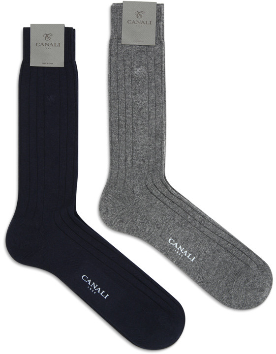 Canali Black and Gray Cashmere sock two-pack-2_0