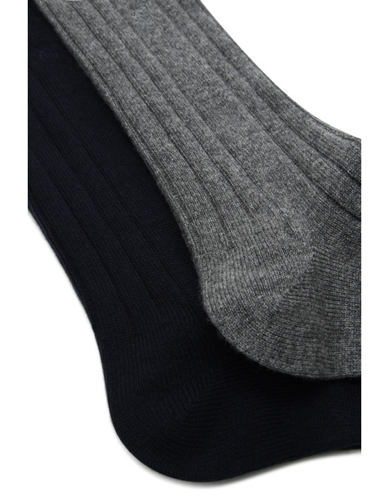 Canali Black and Gray Cashmere sock two-pack-2_1