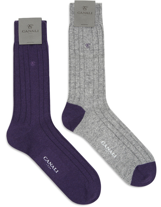 Canali Purple and Gray Cashmere sock two-pack-2_0