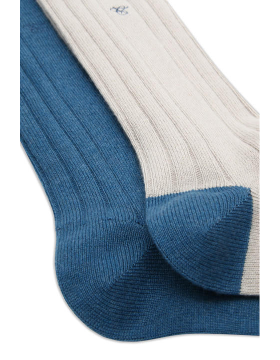 Canali Blue and cream Cashmere sock two-pack-2_1