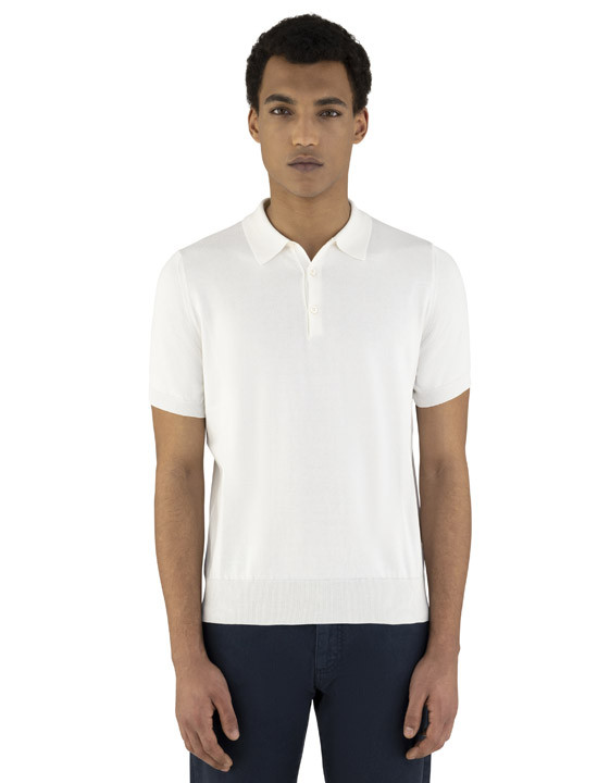 Canali White knitted polo in pure cotton-2_2