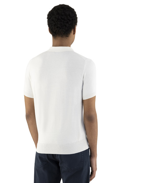 Canali White cotton polo shirt with ribbing-2_3
