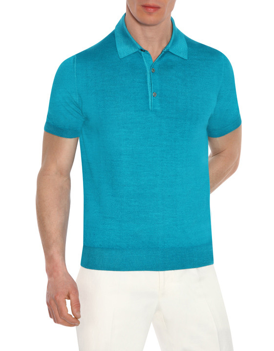 Canali Turquoise knitted polo in wool-silk blend-2_0