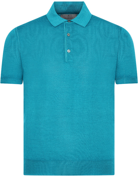 Canali Turquoise knitted polo in wool-silk blend-2_1