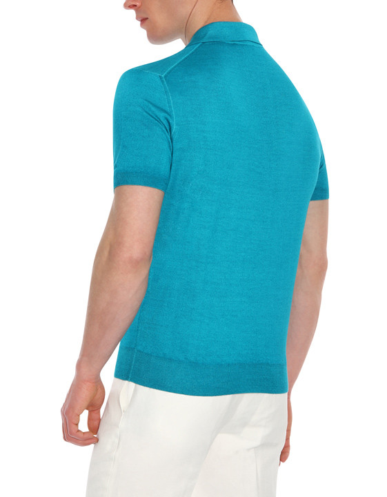 Canali Turquoise knitted polo in wool-silk blend-2_2
