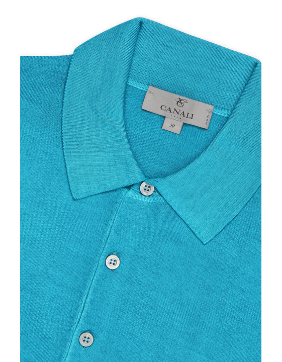 Canali Turquoise knitted polo in wool-silk blend-2_3