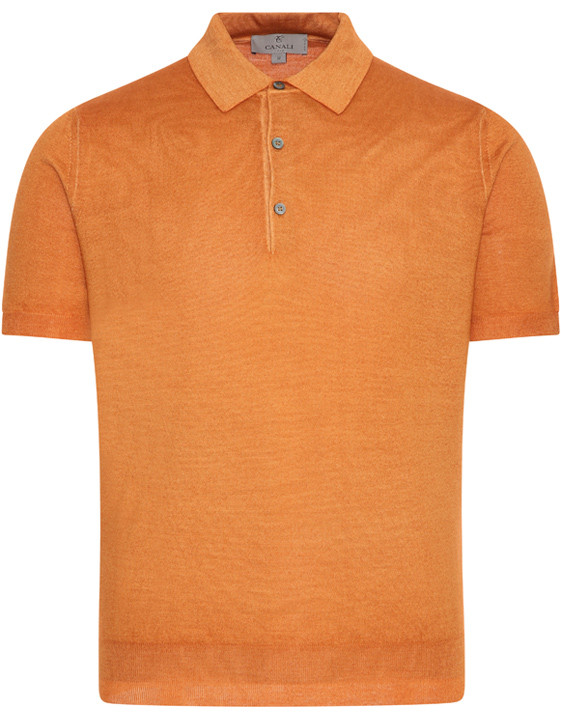 Canali Orange Knitted polo in wool-silk blend-2_1