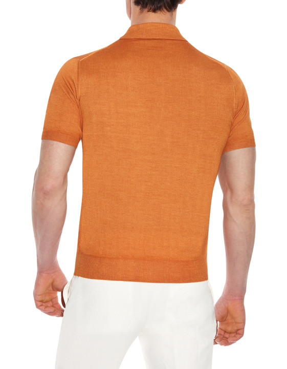 Canali Orange Knitted polo in wool-silk blend-2_2