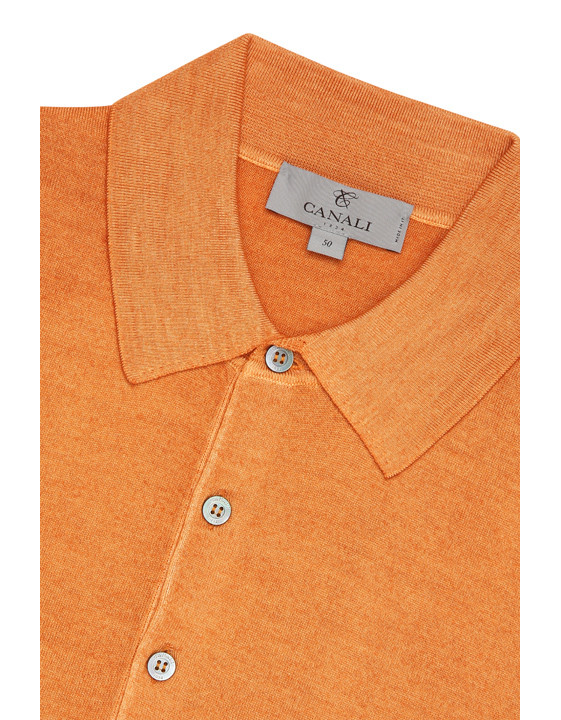Canali Orange Knitted polo in wool-silk blend-2_3