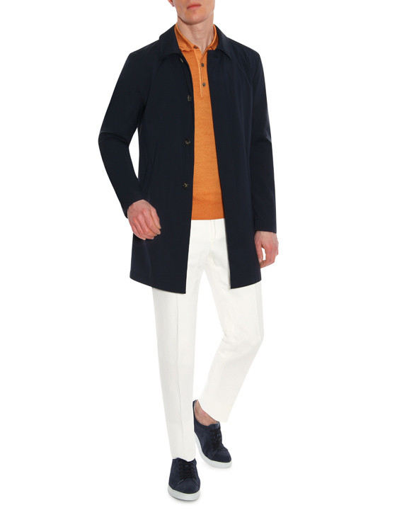 Canali Orange Knitted polo in wool-silk blend-2_4