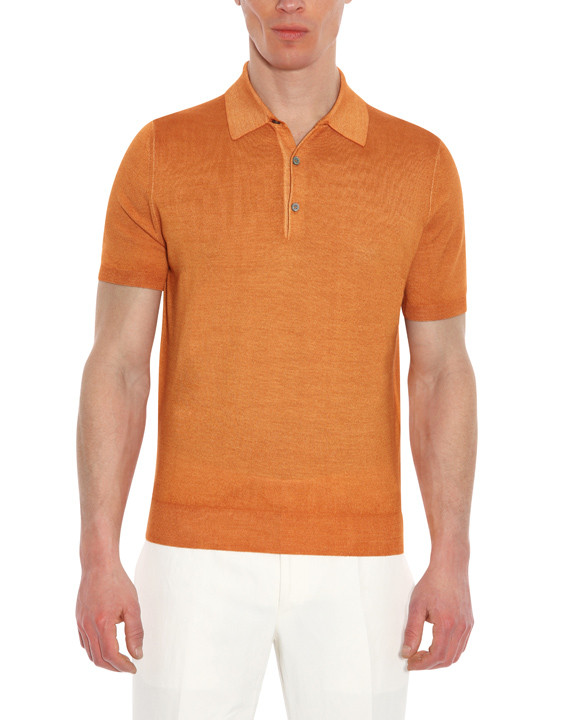 Canali Orange Knitted polo in wool-silk blend-2_0