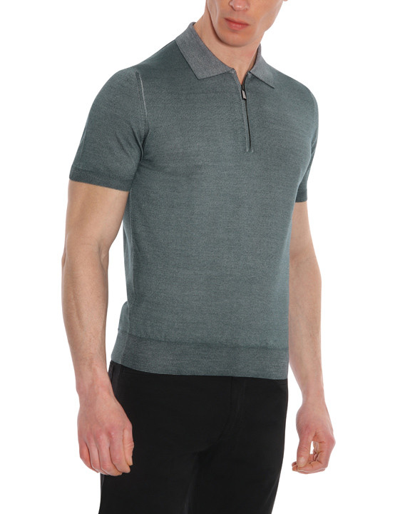 Canali Gray zip-up polo in wool-silk blend-2_0