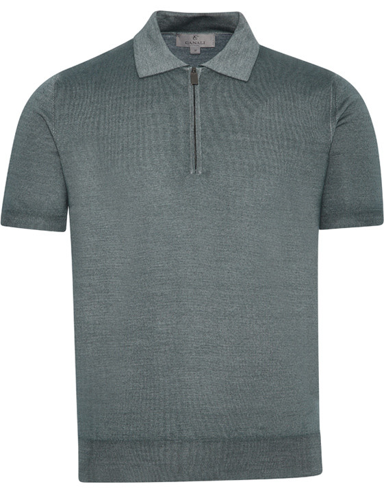 Canali Gray zip-up polo in wool-silk blend-2_1