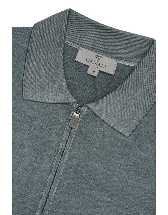 Canali Gray zip-up polo in wool-silk blend-2_3