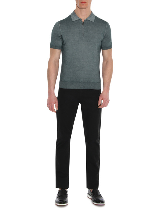 Canali Gray zip-up polo in wool-silk blend-2_4
