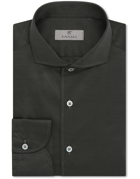 Canali Dark green shirt in pure cotton-2_0