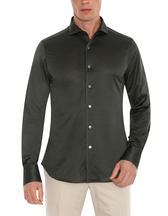 Canali Dark green shirt in pure cotton-2_1