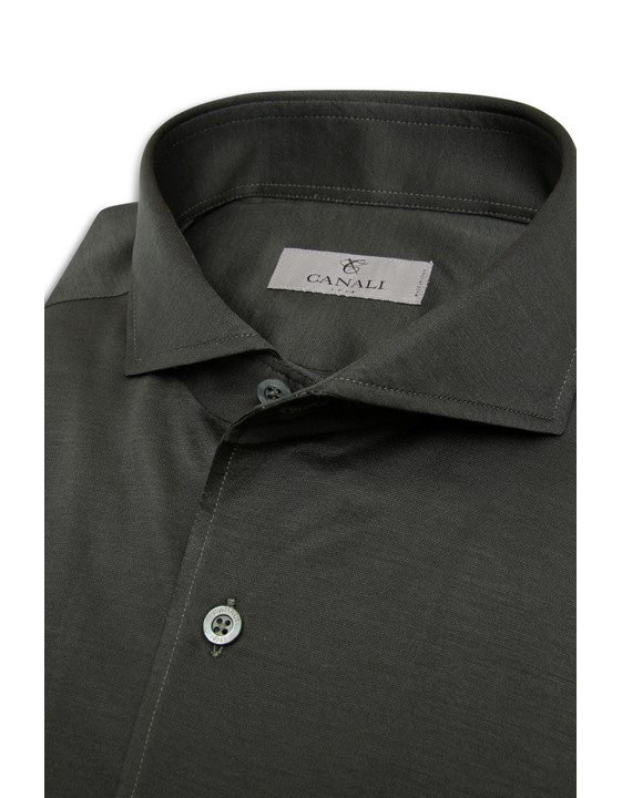 Canali Dark green shirt in pure cotton-2_3