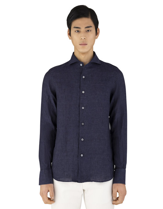 Canali Dark blue slim fit linen shirt with French collar-2_1