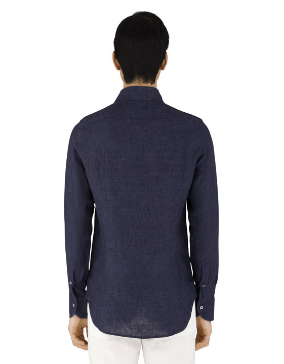 Canali Dark blue slim fit shirt in pure linen-2_2