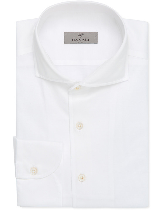 Canali White slim fit shirt in pure cotton-2_0