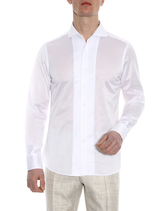 Canali White slim fit shirt in pure cotton-2_1