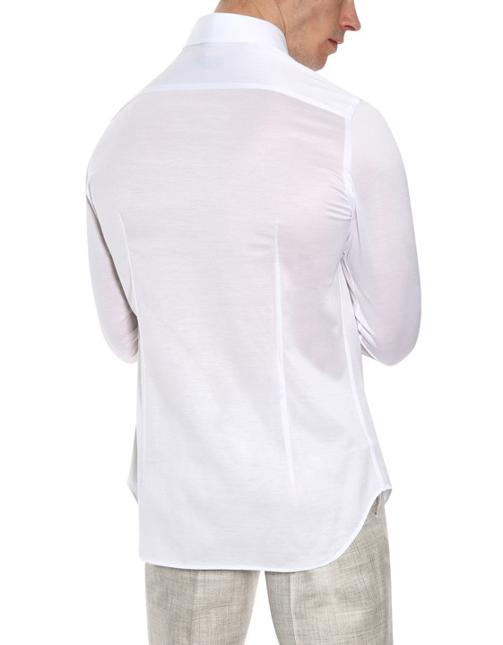 Canali White slim fit shirt in pure cotton-2_2