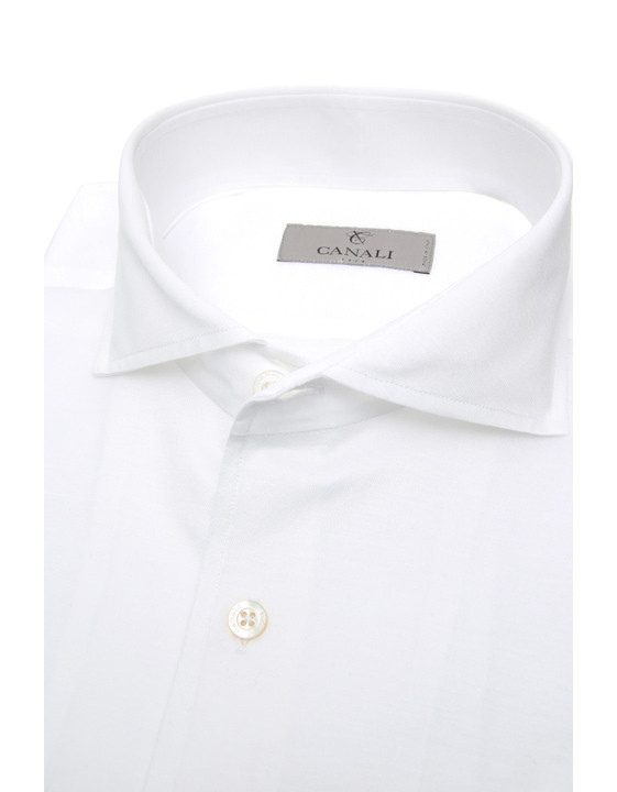 Canali White slim fit shirt in pure cotton-2_3