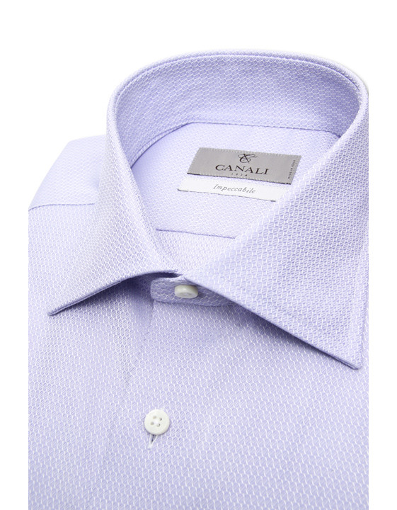 Canali Impeccabile purple cotton dress shirt with optical motif-2_2