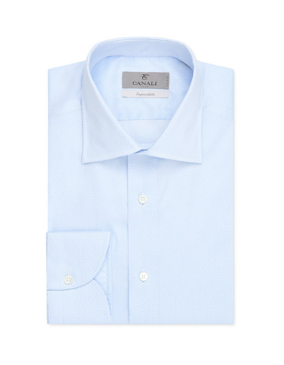 Canali Microfancy Impeccabile slim fit shirt light blue-2_0
