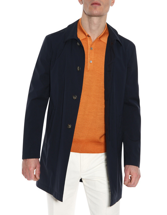 Canali Navy raincoat in wool-silk blend-2_0