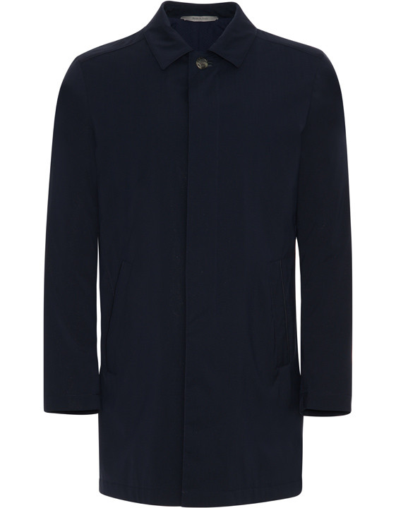 Canali Navy raincoat in wool-silk blend-2_1