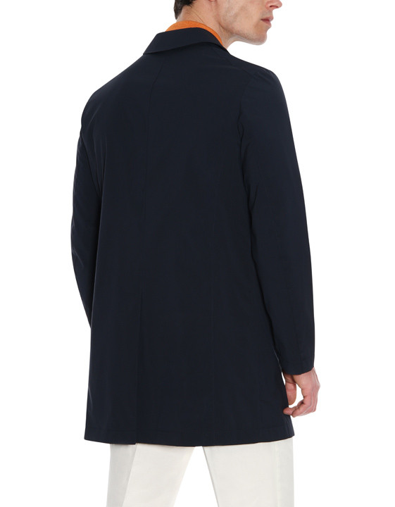 Canali Navy raincoat in wool-silk blend-2_2