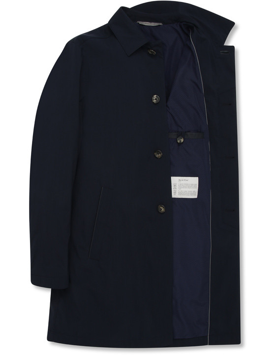 Canali Navy raincoat in wool-silk blend-2_4