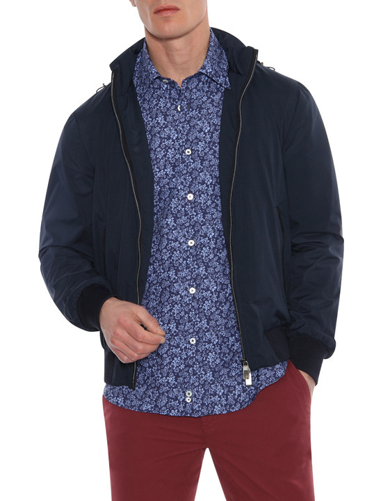 Canali Navy waterproof bomber with detachable hood-2_0