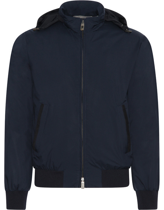 Canali Navy waterproof bomber with detachable hood-2_1