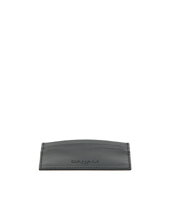 Canali Black Saffiano Calfskin Leather Card Holder-2_2