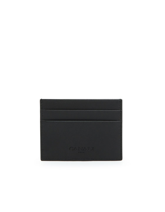 Canali Black Saffiano Calfskin Leather Card Holder-2_3