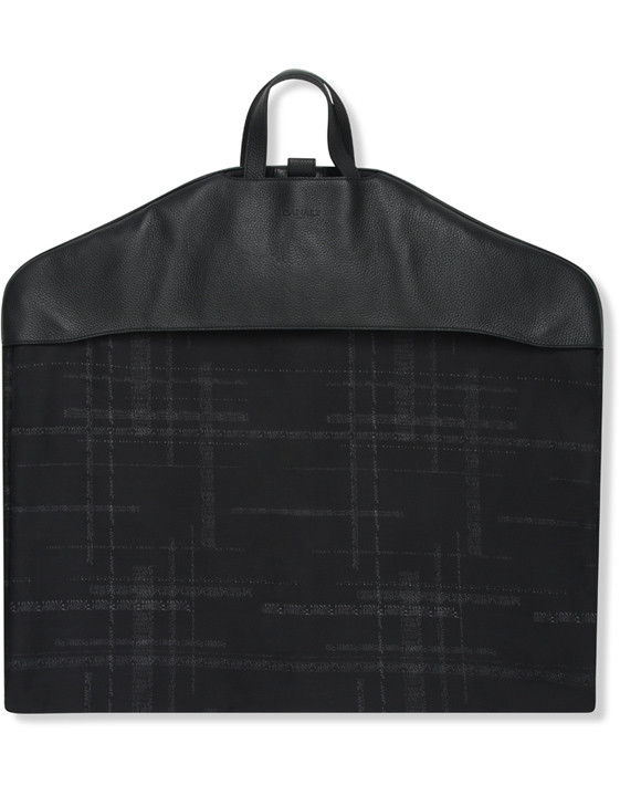 Canali Black calfskin garment bag with technical fabric insert-2_0